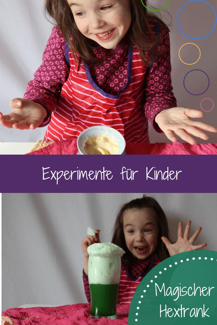 Experimente für Kinder - Kinder experimentieren - ein Hexentrank, der schäumt und brodelt und zischt und ein zweiter Hexentrank, der einfach total lecker schmeckt. Zum Weltentdecken oder für den #Kindergeburtstag #experimente #experiment #kinderforschen #hextrank #rezept #hexentrank
