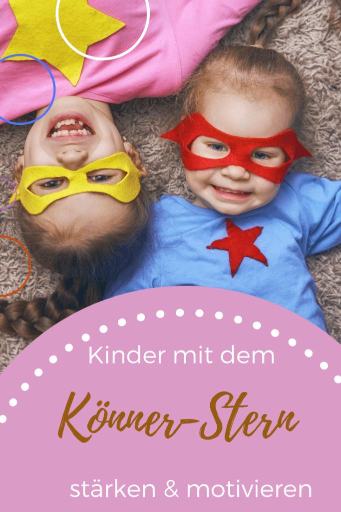 Ein tolles DIY für starke Kinder - basteln, gestalten mit Kindern. Mit dem Könner-Stern kannst Du Kindern vor Augen führen was sie schon alles können . das stärkt das Selbstbewusstsein und hilft ihnen dabei sich selbst besser einzuschätzen
